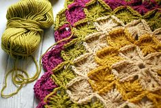 I love the combination of these colours! Tonya Doughty is using Sarah London's Wool Eater Blanket crochet pattern to use up her yarn stash. {photo from Tonta Doughty's Flicka stream}