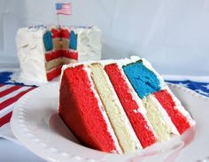 4th of July Flag Cake. {I made this cake about 3 yrs ago with a couple of friends for the 4th of July! It is time consuming but not too hard. And everyone was amazed when it was sliced up! So fun!! ~Lindsey}