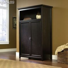 Exceptionnel Armoire Computer Office Desk Wood Space Saving Cabinet Living Room  Furniture #Sauder