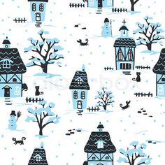 Get this hi-res stock vector Christmas pattern. Winter village scene with houses, pets and. Buy as single download or save up to 90% with a subscription.