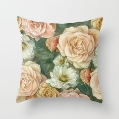 Floral rose pattern Throw Pillow by StrijkDesign | Society6