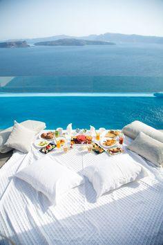 Pool breakfast in Akrotiri, Santorini