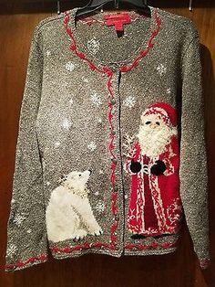 Ugly Christmas Sweater XL Northern Isles Cardigan Santa Polar Bear 2004