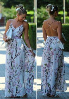 Maxi vestido poliéster modelo partido v-cuello floral multicolor