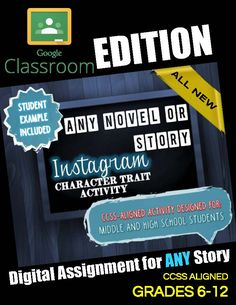 """Students will create an original Instagram post that a character from the story might have posted during an important event in the story.  Check out the same product in a traditional printable format: """"The Giver"""" Instagram Character Trait Activity: No-Prep, CCSS, Student Example  Not only do students have to create an Instagram post (incorporating EVIDENCE from the book), but they also have to complete a printable handout in which they explain different aspects of their post and support the…"""