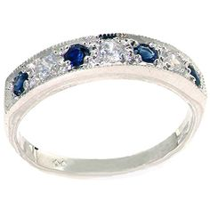 Promise Rings Simple | 10k White Gold Natural Diamond and Sapphire Womens Band Ring 018 cttw HI Color I2I3 Clarity *** Find out more about the great product at the image link. Note:It is Affiliate Link to Amazon.