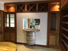 Kiaat wine cellar with oak wine barrels Wine Barrels, Wine Cellar, Cupboard, Loft, Bed, Furniture, Home Decor, Riddling Rack, Clothes Stand