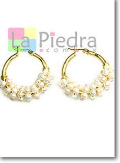 aretes de perlas en espiral