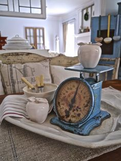 Chateau Chic - Vintage Blue Scale - I have the apple! Primitive Kitchen Decor, Shabby Chic Kitchen, Farmhouse Decor, Kitchen Vignettes, Old Kitchen, Vintage Kitchen, Kitchen Island, Old Scales, Blues Scale