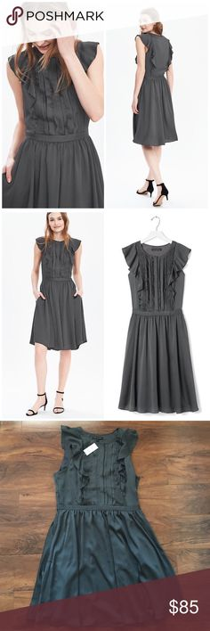 Banana Republic Flutter Sleeve Dress Great dress for any occasion! Ruffle detail in front on sleeves and onto the back. Slight flare skirt. Color is vintage gray. 100% poly. Pleated skirt. Offers welcome through offer tab. No trades. 10922161121 Banana Republic Dresses