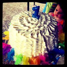 ruffle cake for Alyssa's first birthday