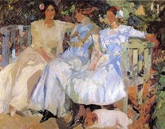 My Wife and Daughters in the Garden by  Joaquin Sorolla y Bastida