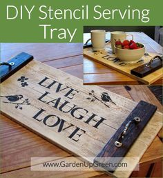 DIY Stencil Serving Tray Build a fun DIY Project using stencil techniques to create a unique serving tray. This is an easy build that can be completed in an afternoon. Easy Wood Projects, Woodworking Projects That Sell, Diy Woodworking, Woodworking Furniture, Woodworking Classes, Popular Woodworking, Woodworking Articles, Diy Projects To Sell, Woodworking Quotes