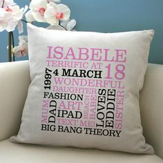 personalised 18th birthday word art cushion by a type of design | notonthehighstreet.com