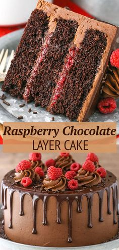 This Raspberry Chocolate Layer Cake is super moist and layered with smooth chocolate ganache and raspberry filling, all covered in a fudgy chocolate frosting! It's rich, full of chocolate and heavenly! Layer Cake Recipes, Best Cake Recipes, Cupcake Recipes, Baking Recipes, Dessert Recipes, Layer Cakes, Birthday Cake Recipes, Beef Recipes, Raspberries