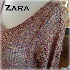 ZARA KNIT multi colored open knit slouch sweater ZARA KNIT. Multi colored knit has an overall color feel of rust-deep pink. However looking close you see yellows, blue & reds. Open knit so it's see thru. Slouch sleeves that are so in this winter. Seams of the slouch shoulders & two front side are sewn so the seam is on the outside of the sweater for added detail. Tag says L but runs very small. This is best for a small.  Xsmall can wear as well if you like it more baggy. Ribbed hem/cuffs…