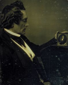 ca. 1855, [portrait of a gentleman looking at a daguerreotype] via the Smithsonian Photographic Institute,  American Art Museum Collection