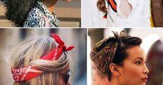 Como usar bandanas na cabeça e no pescoço. Os lenços no penteado são ótimos aliados para enfrentar o day after e os bad hair days! Bandanas, Makeup Looks, Make Up, Hairstyle, Outfits, Fashion, How To Wear Bandana, Scarf Headbands, How To Wear Scarves