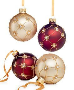 Holiday Lane Set of 4 Red & Gold Ball Ornaments - Christmas Ornaments - Holiday Lane - Macy's Merry Christmas Gif, Gold Christmas Ornaments, Christmas Balls, Christmas Holidays, Christmas Crafts, Ball Ornaments, Homemade Christmas Gifts, Christmas Tree Decorations, Red Gold