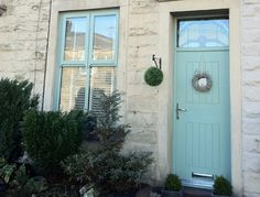 blue painted upvc windows - Google Search Painting Upvc Windows, Coloured Upvc Windows, Window Frame Colours, Hipster Home, Cottage Windows, French Windows, Interior And Exterior, Exterior Windows, Interior Design