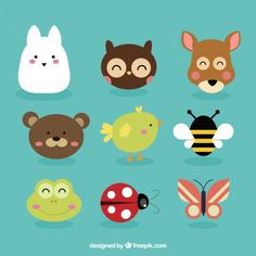 Lovely animals avatars and insects Emoji Drawings, Cute Drawings, Farm Animals Preschool, Animal Bag, Diy Presents, Cute Little Things, Kawaii Wallpaper, Disney Tattoos, Painting For Kids