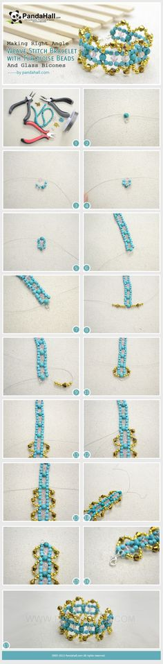Making Right Angle Weave Stitch Bracelet with Turquoise Beads and Glass Bicones