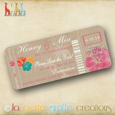 Printable Save the Date - Tropical Breeze Airline Ticket on Etsy, $12.50