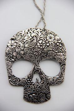 SUPER SALE Vintage Handmade Sugar Skull Candy Skull by Steelogy, $9.99