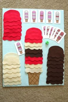 Ice cream cone building - following patterns - for the felt board