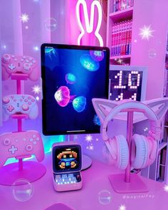 Kawaii Games, Gaming Room Setup, Gaming Rooms, Kawaii Bedroom, Otaku Room, Cute Room Ideas, Game Room Design, Room Ideas Bedroom, Room Decor