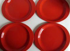 Vintage Mid Century Danish Modern Enamel Plates / Platters / Dynasty Ware / Made In Hong Kong