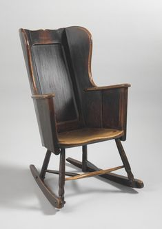 Delightful Primitive Plank Windsor Wing Backed Rocking Chair (From Robert Young Antiques) #FolkArt
