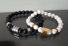 Bracelet Couple, Boutique Etsy, Ajouter, Voici, Beaded Bracelets, Men, Jewelry, Black Bracelets, Silver