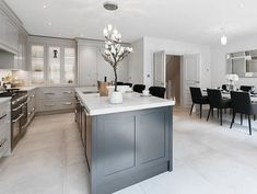 Who wouldn't love this dining kitchen in their own home. Designed and fitted by our very talented team 🌟 Open Plan Kitchen Diner, Kitchen Diner Extension, Open Plan Kitchen Living Room, Kitchen Dining Living, Kitchen Family Rooms, New Kitchen, Dining Rooms, Kitchen Island, Kitchen Cabinets
