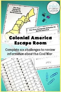 Looking for a fun U.S. History review activity? This Colonial America Escape Room comes with six escape room challenges to help students review the colonial America history. #vestals21stcenturyclassroom #colonialamerica #colonialamericaescaperoom #colonialamericasactivities #historyescaperoom #ushistoryescaperoom #historyescaperoomideas #historyescaperoomlesson #escaperoomhistoryclassroom