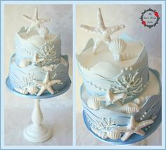 Seaside theme, would make a great wedding cake.
