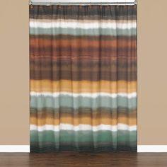 Jessen Stripe 72 in. Earthtones Polyester Shower Curtain