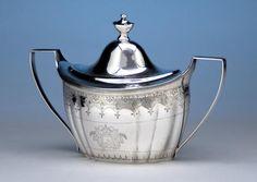 Hugh Wishart Antique Coin Silver Covered Sugar Bowl, New York, c. 1800