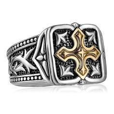 f89714a9da9eaf Scott Kay Unkaged Gold   Sterling Silver Men s Cross Ring Kay has been  acclaimed the foremost authority in bridal jewelry. King Jewelers Nashville    King ...