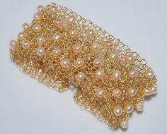 Crocheted Wire Beaded Cuff Bracelet