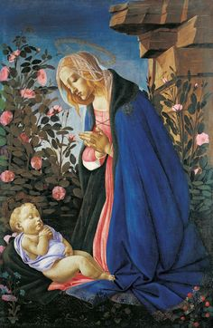 Sandro Botticelli, Anbetung des Kindes / Madonna Wemyss (The Virgin Adoring the Sleeping Christ Child) Giorgio Vasari, Renaissance Kunst, Renaissance Paintings, Italian Painters, Italian Artist, Catholic Art, Religious Art, Michelangelo, Sandro
