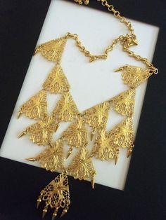 49bd79a857e Gold Tone Filigree Bib VENDOME Necklace Lacy by RenaissanceFair