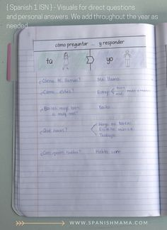 Spanish interactive notebooks for class content and comprehensible input with cornell notes.