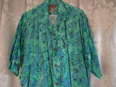Vintage  shirt Hawaiian men's blue pineapples by vintagewayoflife