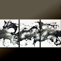 3pc Abstract Canvas Art Painting 54 Original by wostudios on Etsy, $229.00