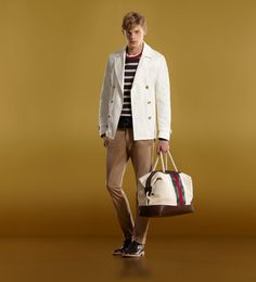 Gucci rtw - white admiral peacoat, strip crewneck knit sweater, white t-shirt, tan riding pant, brown lace-up shoe