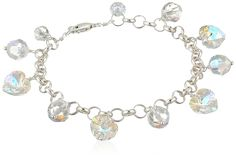 Crystal Aurora Borealis Swarovski Element Sterling Silver Heart and Bead Chain Link Charm Bracelet ** Review more details here : Jewelry