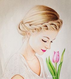 Woman with braided hair and pink tulip. Another one of Kristina Webb's drawings!                                                                                                                                                                                 More