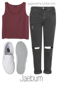 """""""Casual // Jaebum"""" by suga-infires ❤ liked on Polyvore featuring Topshop, Monki and Vans"""