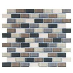 Jeffrey Court, Yukon Cliff Brick 10-1/2 in. x 11-3/4 in. Glass and Travertine Mosaic Wall Tile, 99607 at The Home Depot - Mobile